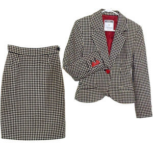 Moschino Skirt Suit Houndstooth Check Wasp Waist